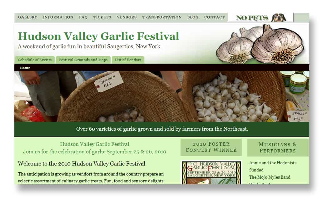 New Website design for Hudson Valley Garlic Festival