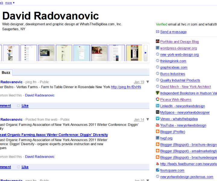 Google profile of New York Web designer David Radovanovic