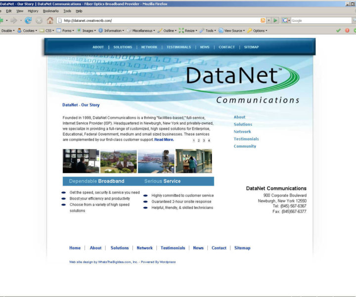 Communications company website design
