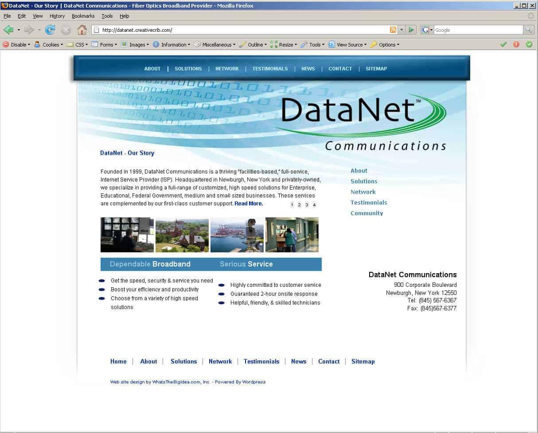Communications company website design