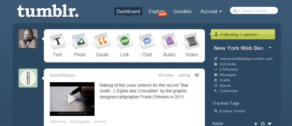 Tumblr Style Post Formats introduced in WordPress 3.1