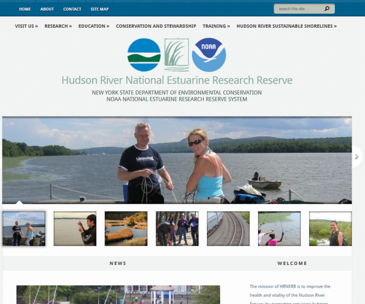 WordPress design for NYDEC Hudson River National Estuarine Research Reserve