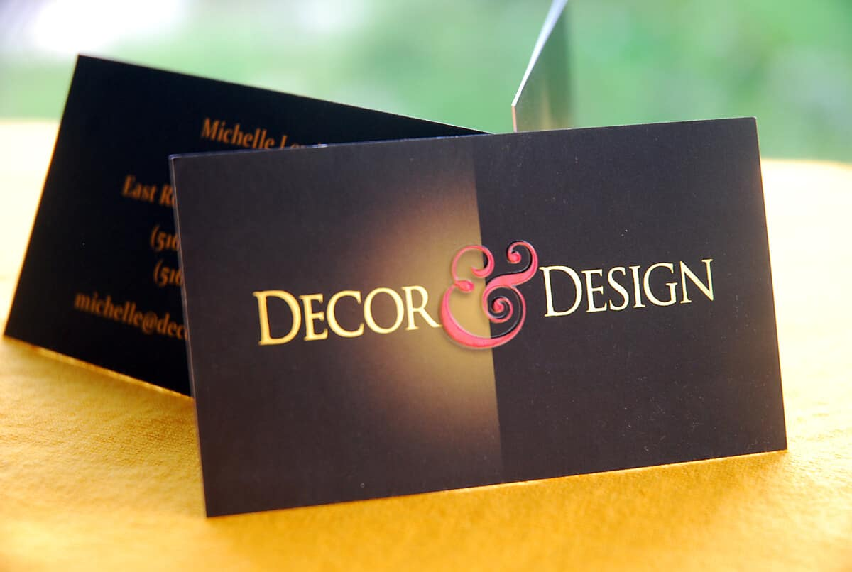business card for interior decor and design